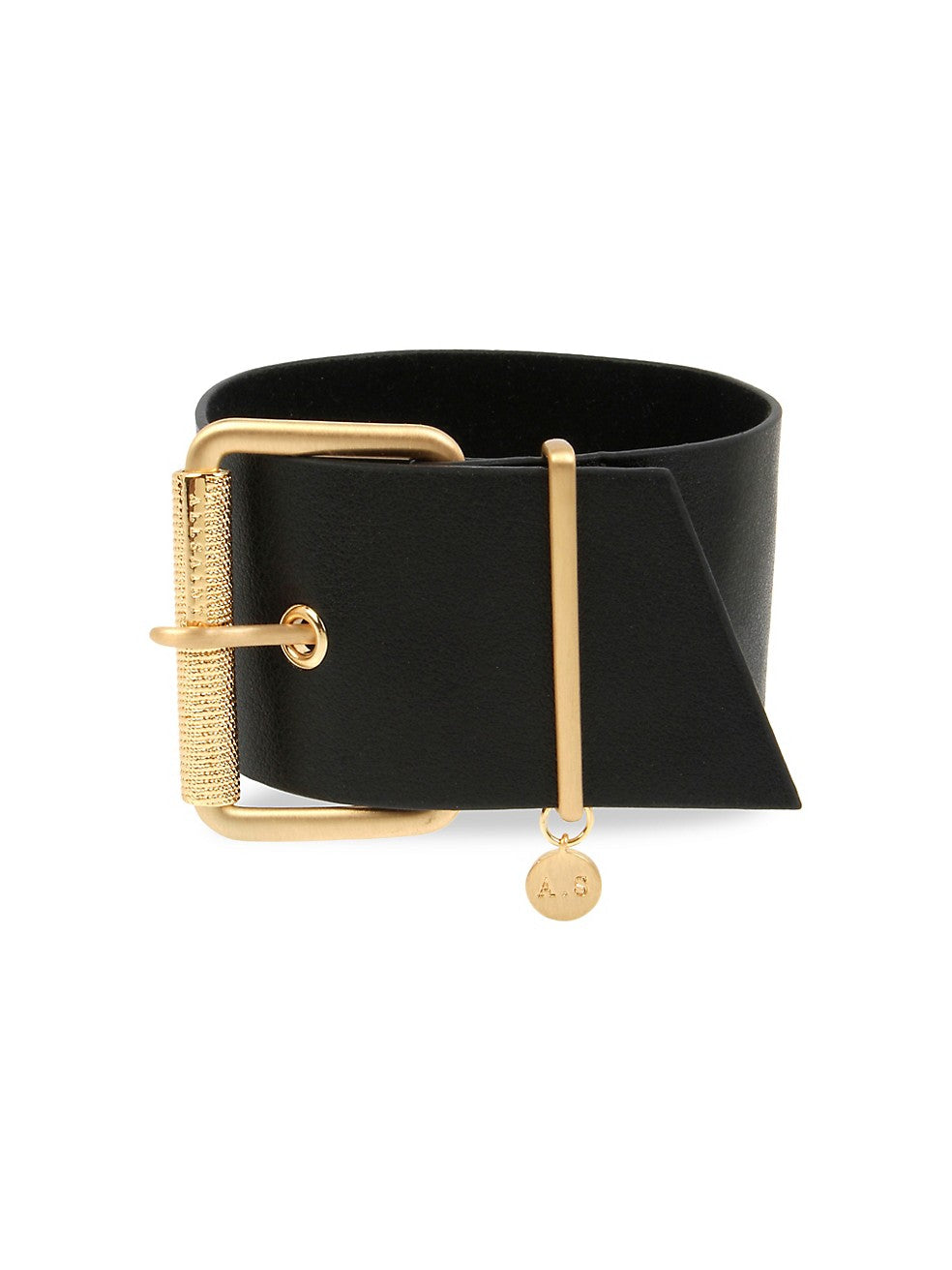 Goldtone & Leather Buckled Bracelet