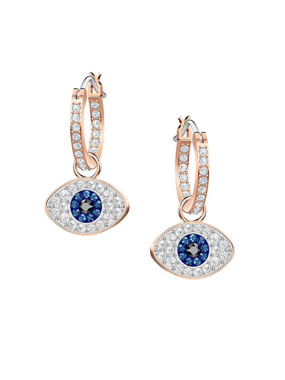 Swarovski Crystal Duo Evil Eye Hoop Earrings