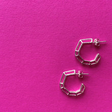 "Load image into Gallery viewer, Sterling Silver ""Strength Hoops"" in Mini"