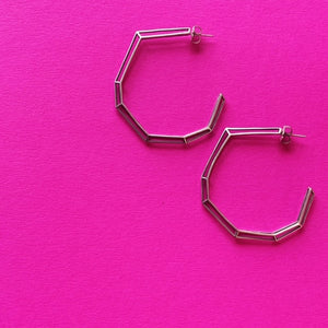 "Sterling Silver ""Strength Hoops"" in Large"