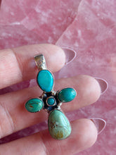 Load image into Gallery viewer, Turquoise Cross Stone Pendant