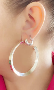 Wide Huggie Hoop Earring in Sterling Silver