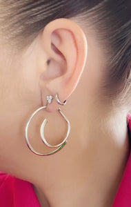 Sterling Silver Front and Back Illusion Hoop Earring