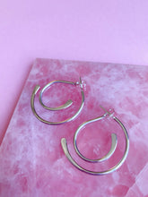 Load image into Gallery viewer, Sterling Silver Front and Back Illusion Hoop Earring
