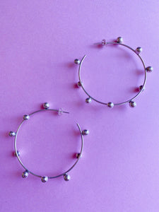 Playful Sphere Large Hoop Earrings in Sterling Silver