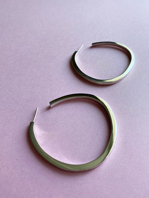 Sterling Silver Wide Teardrop Large Hoop Earring