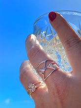 Load image into Gallery viewer, Organic Strength Ring Band with Statement CZ in Sterling Silver