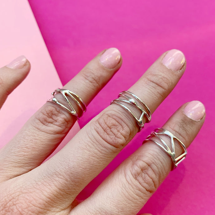 Organic Strength Ring Band in Sterling Silver