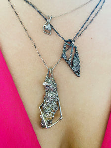 Oxidized Sterling Silver Textured Crystal Pendant