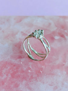 Organic Strength Ring Band with Statement CZ in Sterling Silver