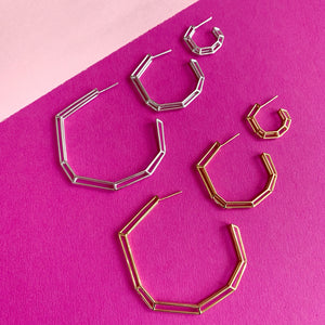 "18K Gold Plated Brass ""Strength Hoops"" in Mini"