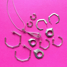 "Load image into Gallery viewer, Sterling Silver ""Strength Hoops"" in Medium"