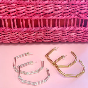 "18K Gold Plated Brass ""Strength Hoops"" in Large"