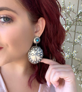Turquoise Cross Statement Earring