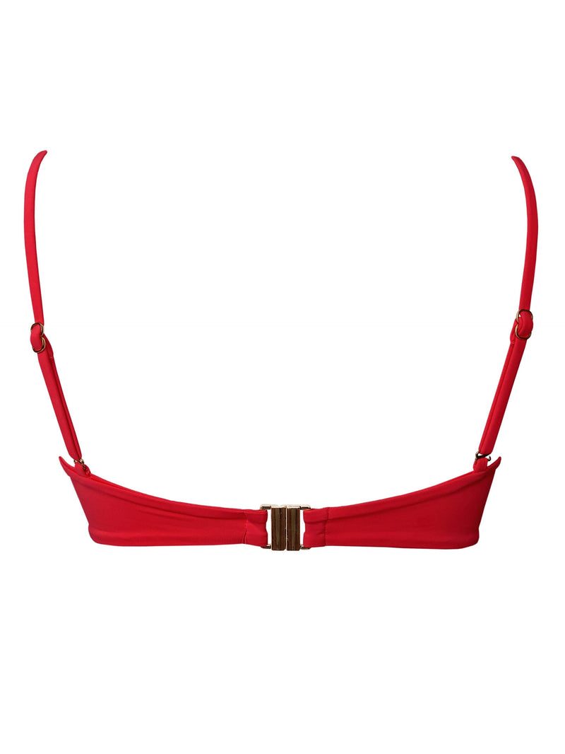 Palermo red bikini top with gold clasp