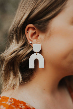 """Annie"" Earrings in White Granite"