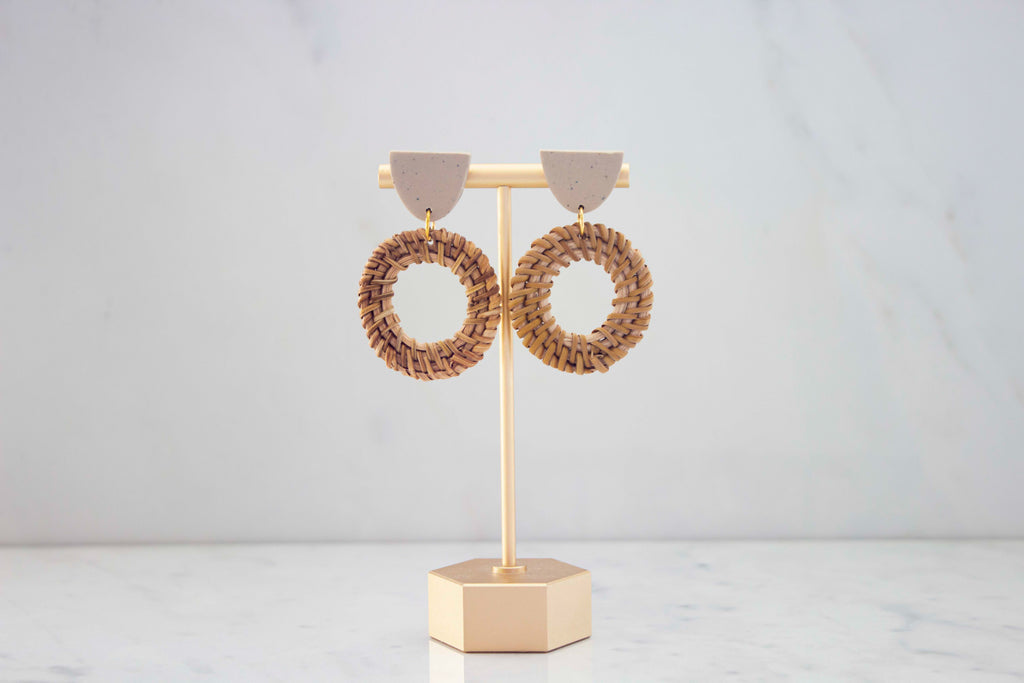 """Britta"" Earrings in Oatmeal"