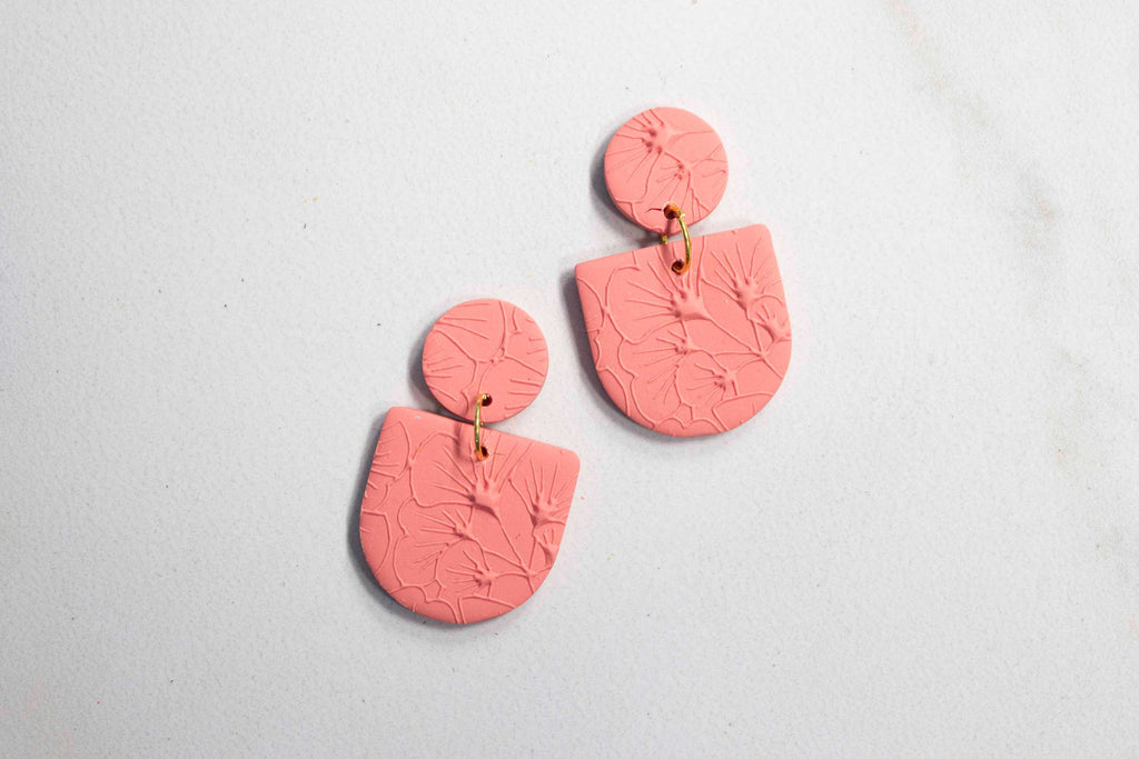 """Mini Camille"" Earrings in Textured Deep Coral"