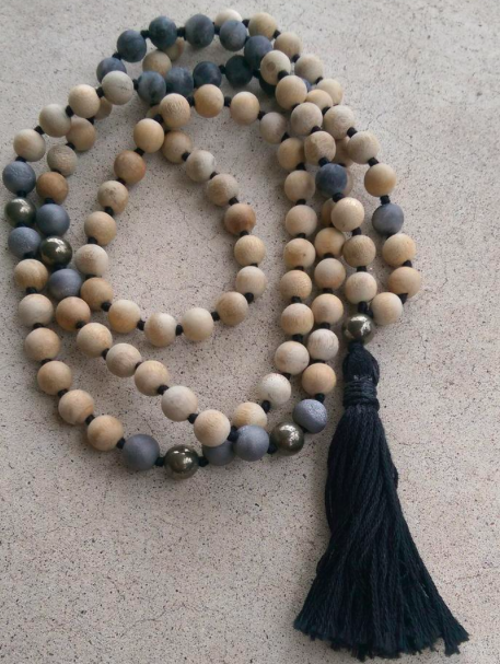 Sandalwood, Pyrite and Labradorite Mala