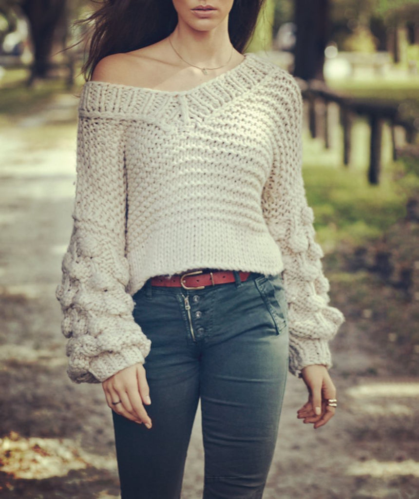 Crop Bubble Sleeve Knit Sweater