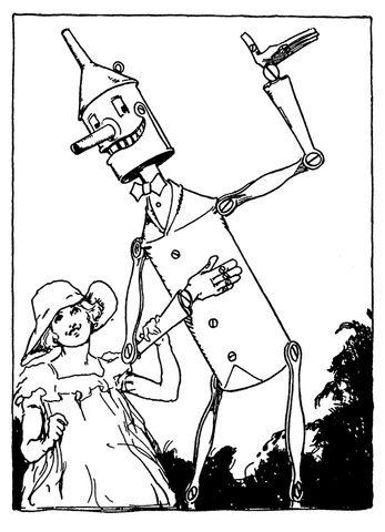 "John R. Neill - Dorothy and the Tin Woodman - (""From Grampa in Oz,"" 1924)"