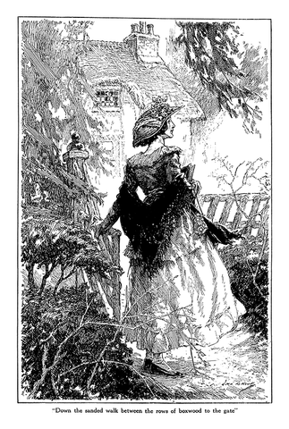 John R. Neill - Down the sanded walk between the rows of boxwood to the gate - (From Century Magazine; December, 1921)