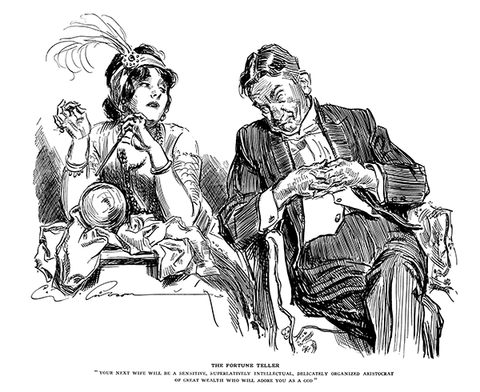 Charles Dana Gibson - The Fortune Teller - (From Life Magazine; December 4, 1913)