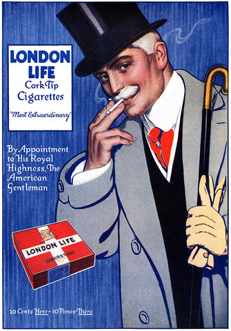 London Life Cork-Tip Cigarette Ad - (From The American Magazine; May, 1914)