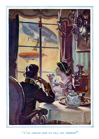 "F. X. Leyendecker - ""I've asked him to tea on Friday"" - (From ""With the Night Mail,"" 1909)"