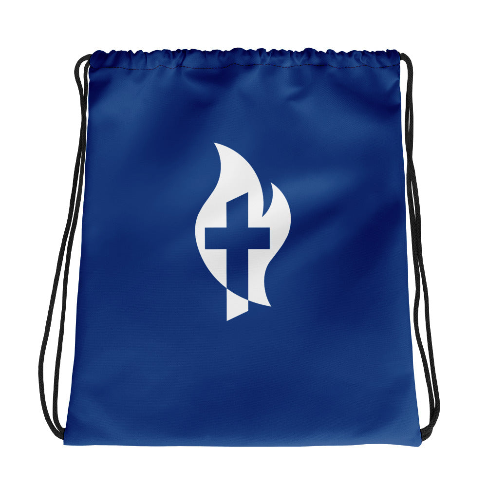 Cross & Flame Blue Drawstring bag