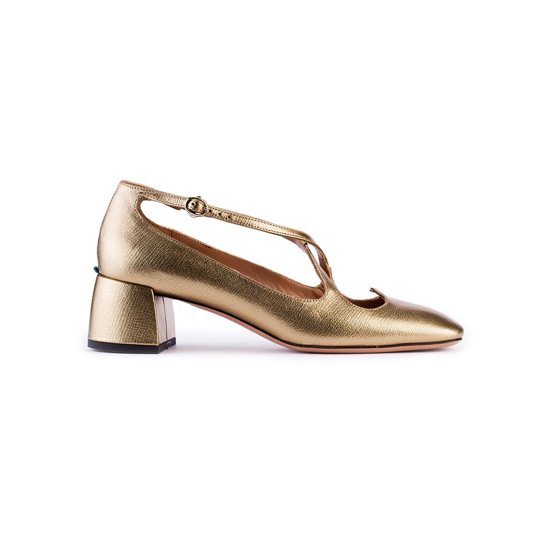 Pump Two for Love in palmellato oro