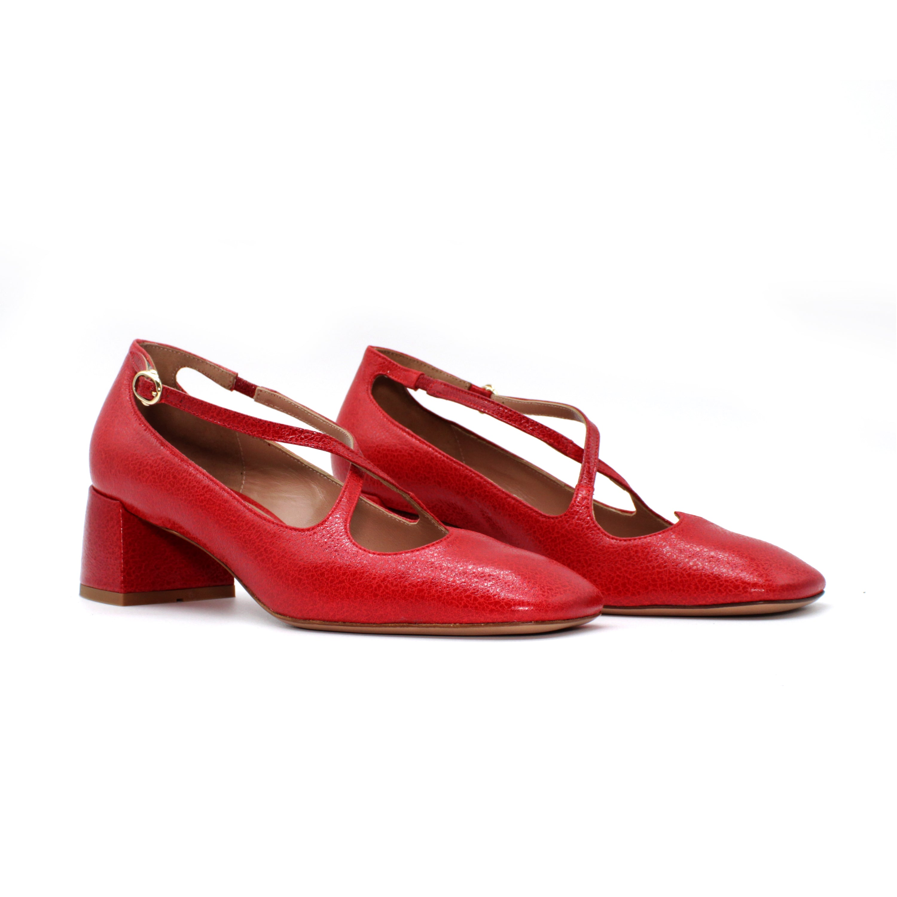 "Pump Two for Love in capra ""new vintage"" color rosso"