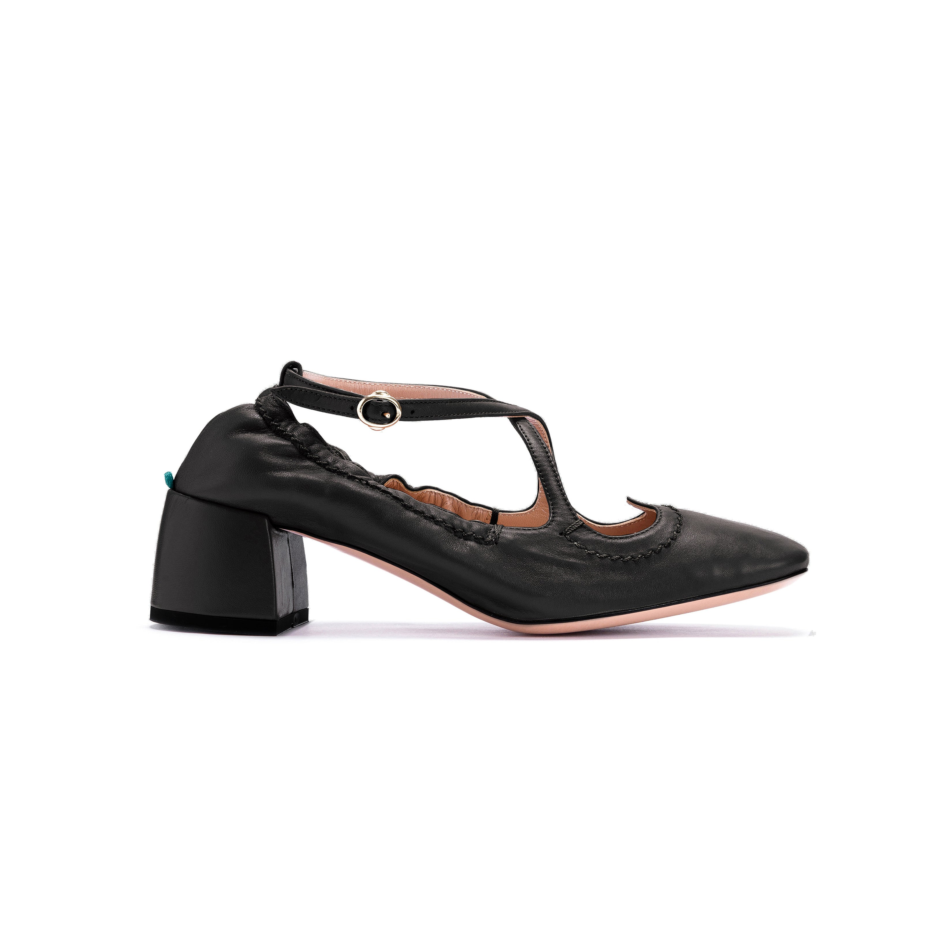Pump Two for Love a sacchetto in nappa color nero