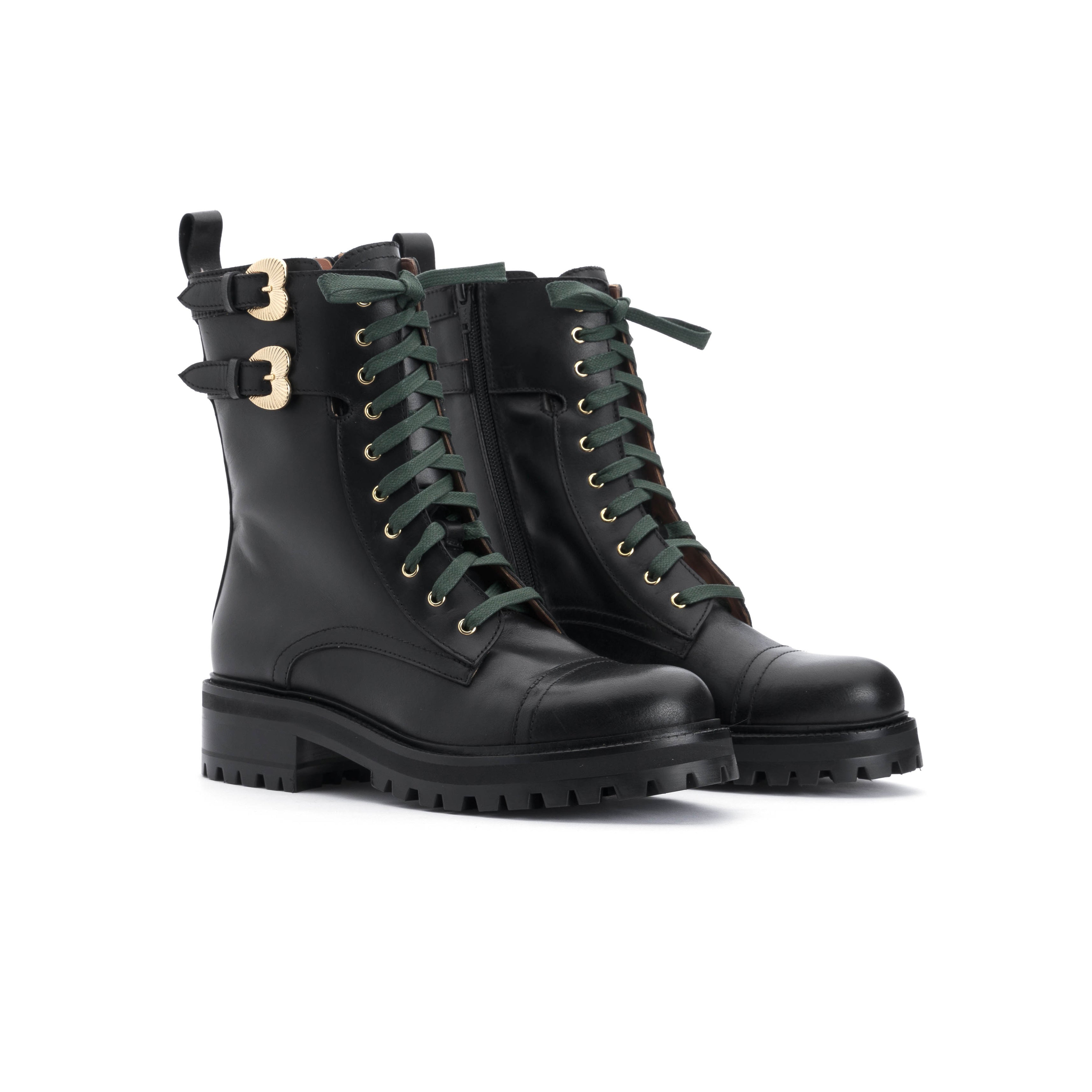 Combat boot A.Bocca in vitello nero - Online Exclusive