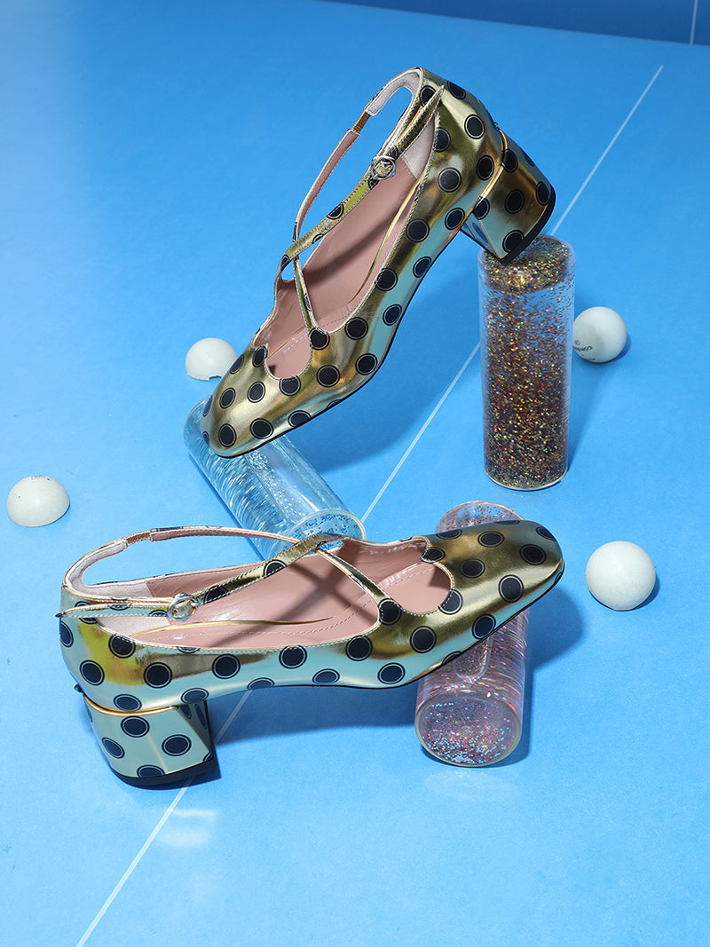 Pump Two for Love in eco specchio stampa pois