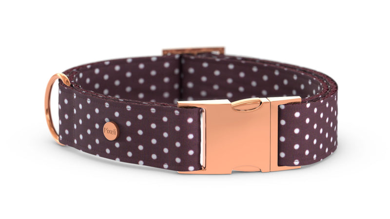 Pixeli Handmade Dog Collar - Burgundy - Rose Gold