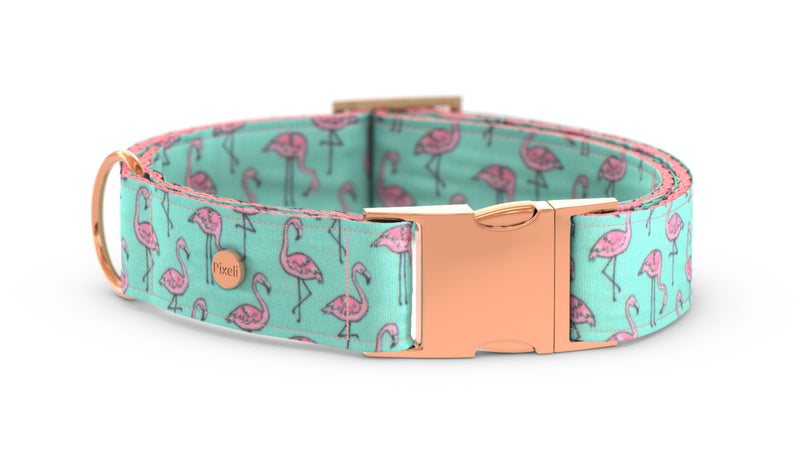 Pixeli Handmade Dog Collar - Flamingo - Rose Gold