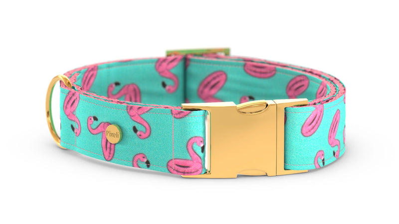 Pixeli Handmade Dog Collar - Pool Party - Gold