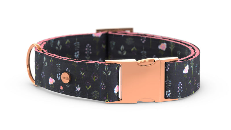Pixeli Handmade Dog Collar - Boho Flowers - Rose Gold
