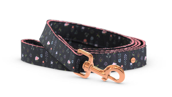 Pixeli Handmade Dog Leash - Boho Flowers - Rose Gold