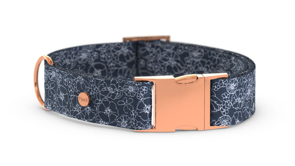 Pixeli Handmade Dog Collar - Blueblossom - Rose Gold