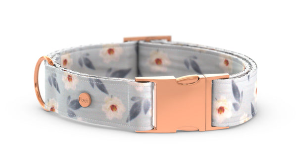Pixeli Handmade Dog Collar - Spring Flowers - Rose Gold