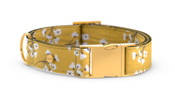 Pixeli Handmade Dog Collar - Cotton Field - Gold