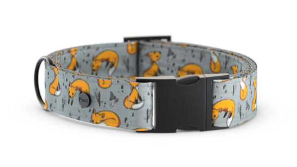 Pixeli Handmade Dog Collar - Wili Fox - Matte Black
