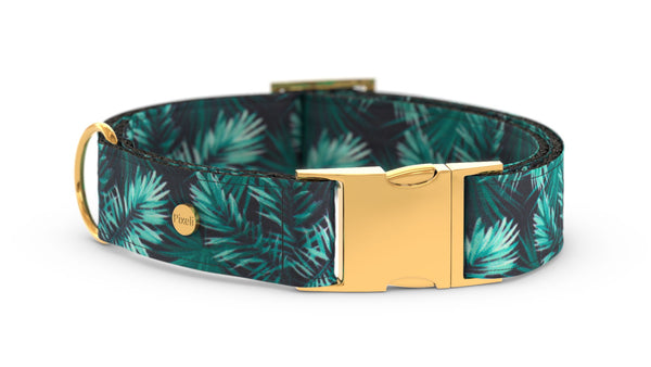 Pixeli Handmade Dog Collar - Jungle - Gold