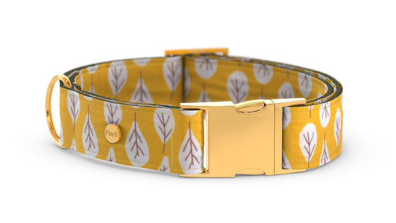 Pixeli Handmade Dog Collar - Goldenrod - Gold