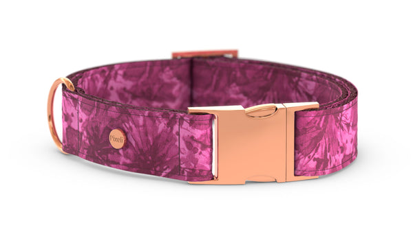 Pixeli Handmade Dog Collar - Pink Marble - Rose Gold