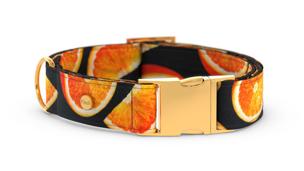 Pixeli Handmade Dog Collar - Orange - Gold