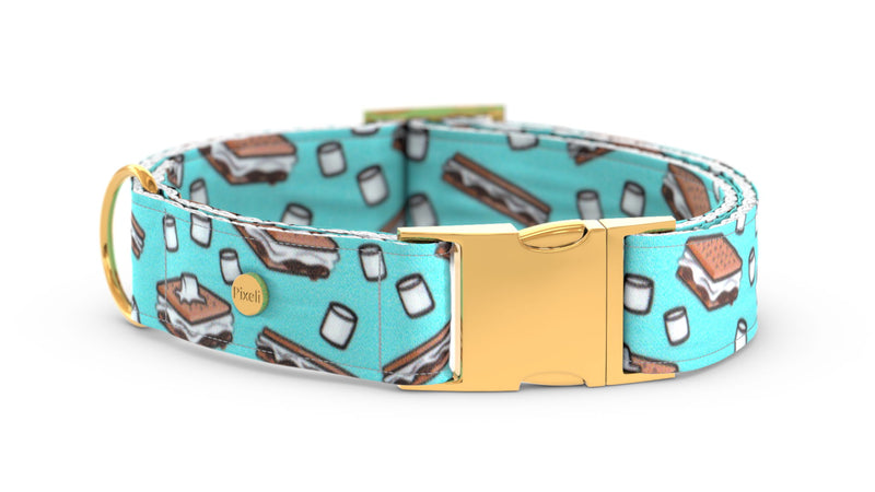 Pixeli Handmade Dog Collar - S'mores - Gold