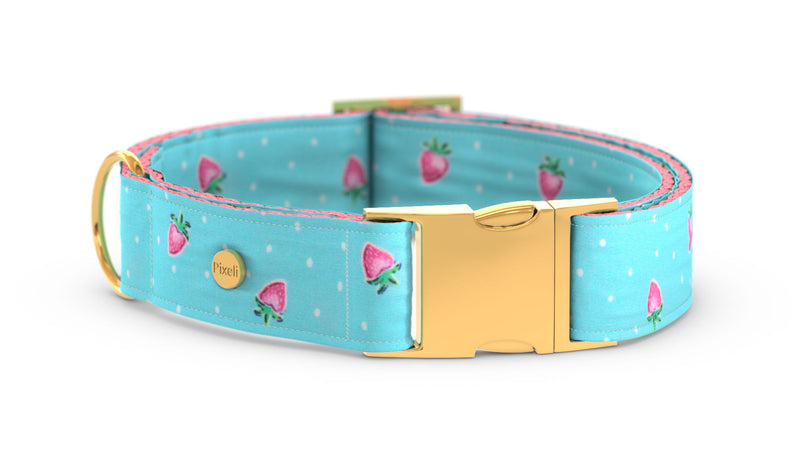 Pixeli Handmade Dog Collar - Strawberry - Gold